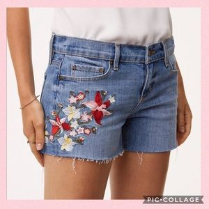 LOFT Embroidered Floral Cut-Off Denim Shorts